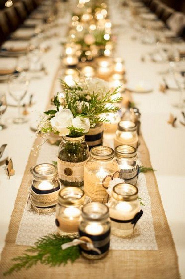 lace and burlap rustic wedding decoration ideas