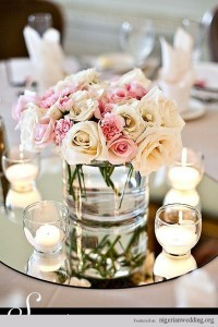 mirror and candles wedding centerpiece ideas