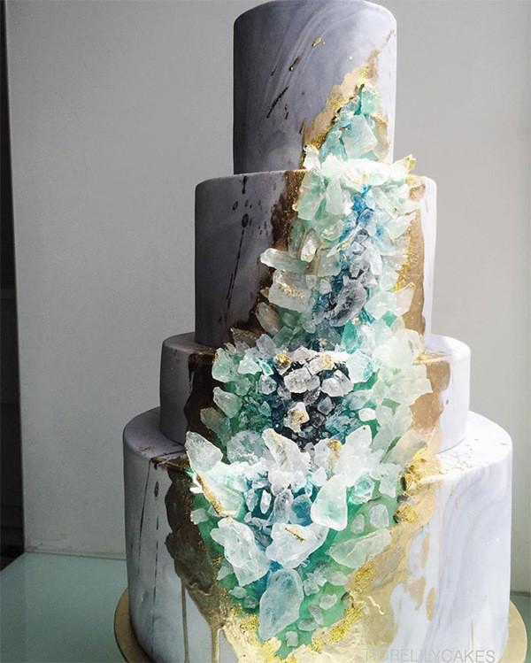modern geode wedding cake