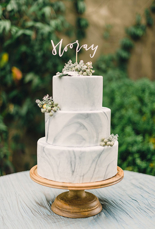 modern white marble wedding cake