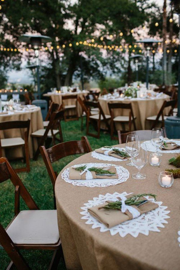 rustic lace and burlap wedding table decoration ideas