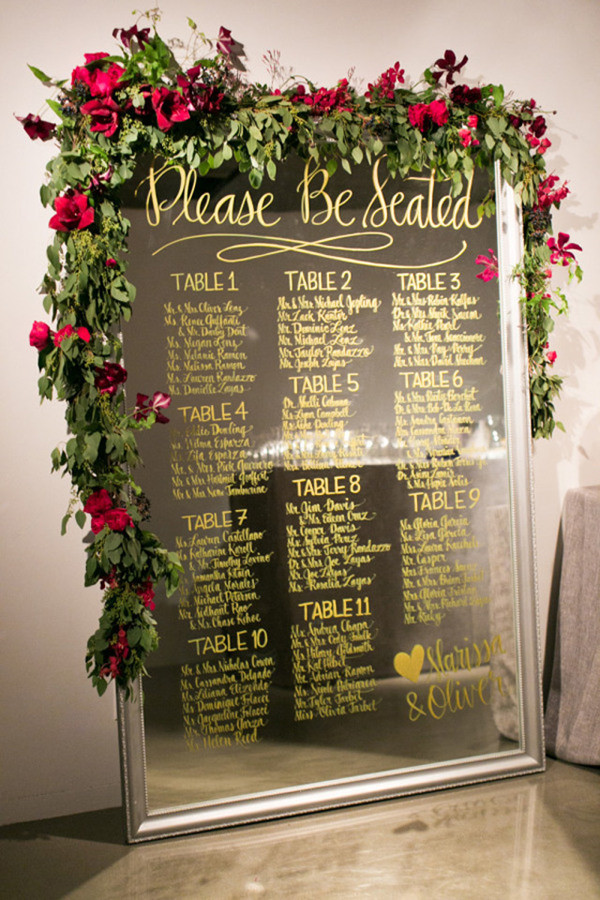 unique vintage wedding seating chart ideas with roses and mirror