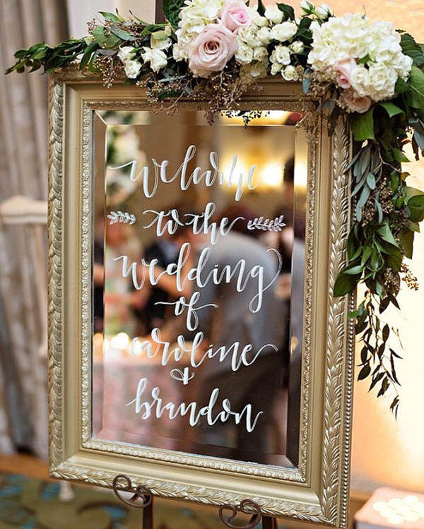 vintage gold mirror wedding sign ideas with flowers