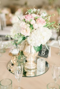 vintage wedding centerpieces with mirror and candles