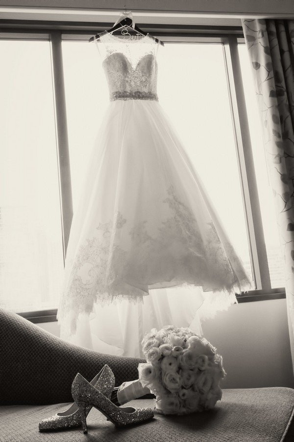 wedding dress, shoes and bouquet photo ideas