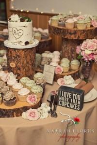 woodland rustic themed wedding dessert table decorations