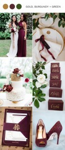 2017 trending gold burgundy and green wedding color ideas