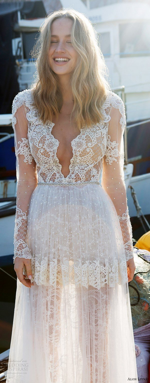2017 trending illusion long sleeves beaded lace vintage wedding dress from alon livne white