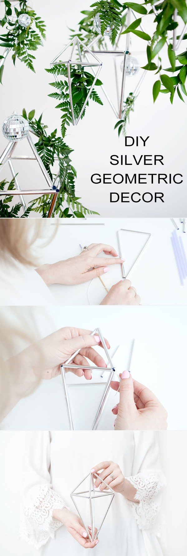 DIY silver geometric wedding decoration ideas