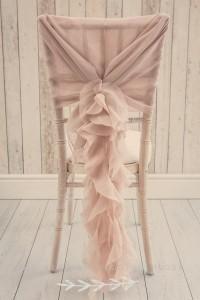Dusky pink ruffle wedding chair sash decoration ideas