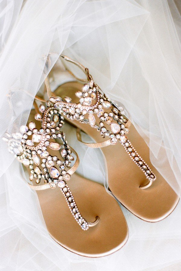 Embellished gladiator sandals for wedding shoes