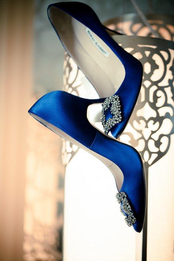 Manolo Blahniks royal blue classic bridal shoes