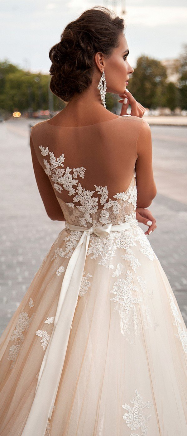 Milla Nova illusion back vintage lace wedding dress