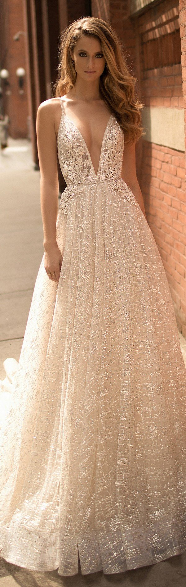amazing deep v neck vintage a line wedding dress from Berta