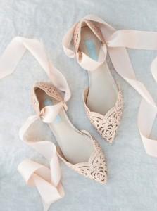 blush pointed toe flats wedding shoes