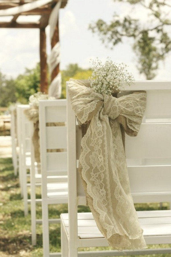 burlap and baby's breath wedding chair decoration ideas