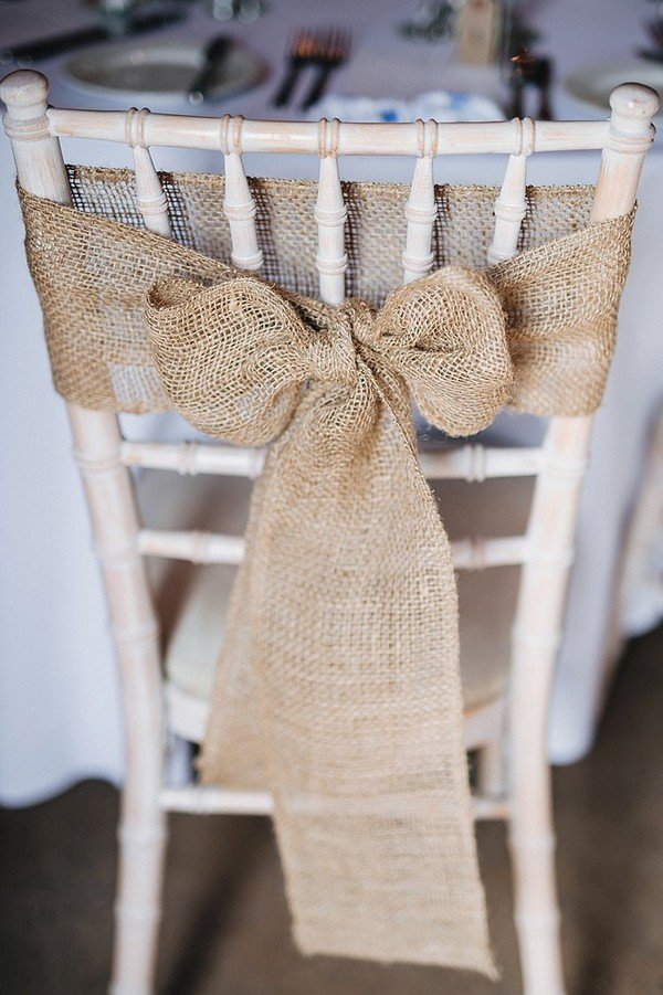 burlap chair decoration ideas for rustic weddings