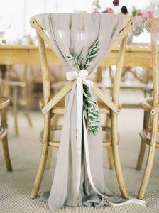 chic rustic gray chiffon and greenery wedding decorations