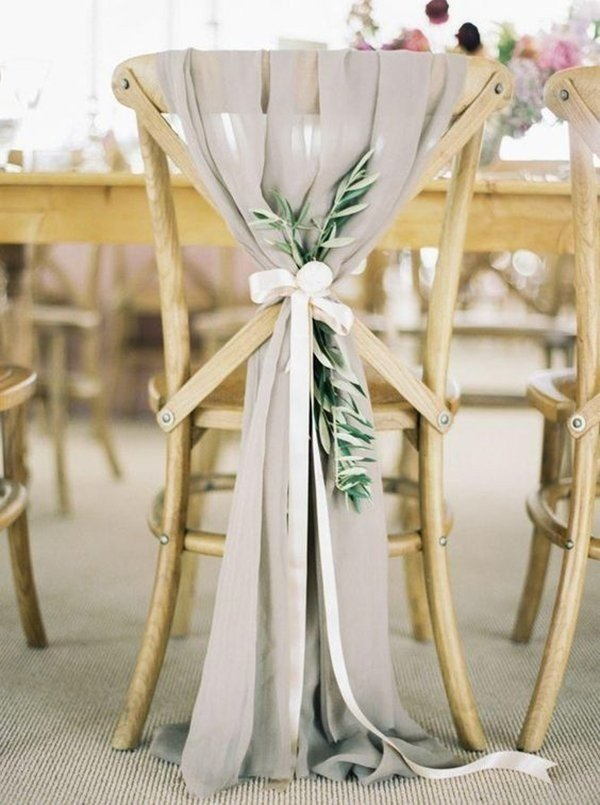 chic rustic gray chiffon and greenery wedding decorations
