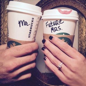 creative engagement rings show off photo ideas with Starbucks