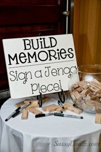 creative jenga themed guestbook ideas for bridal shower and wedding