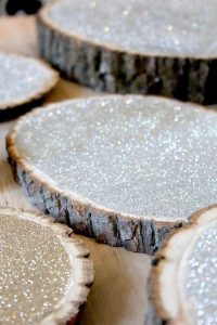 diy glittering wedding wooden centerpiece holders