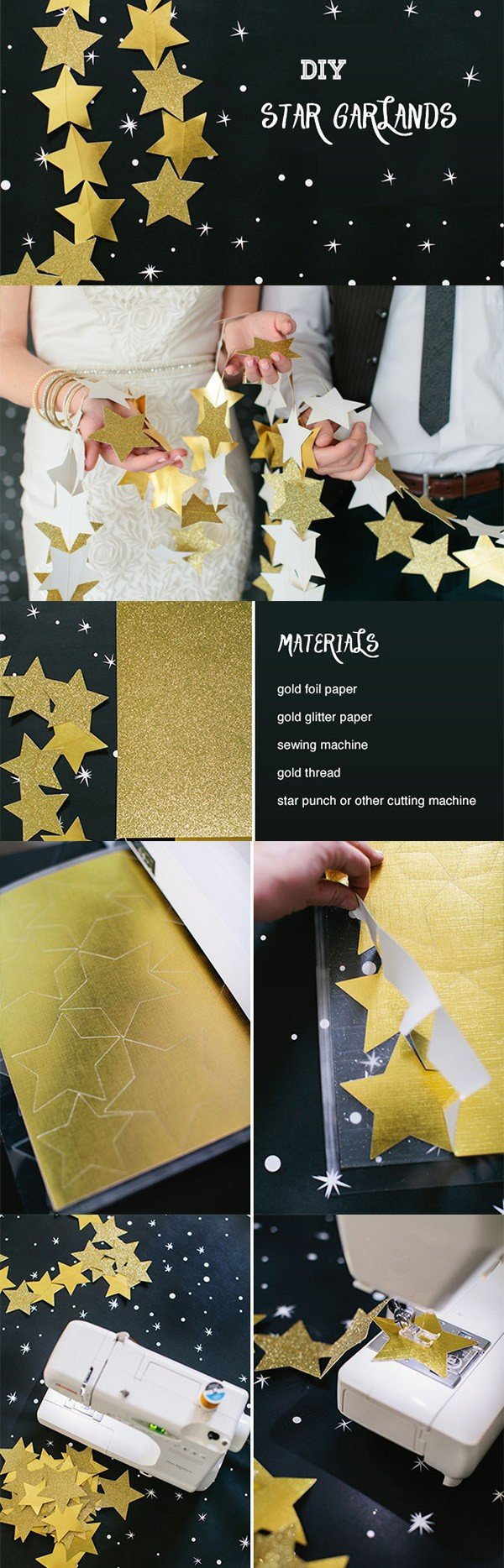 diy star garland wedding decoration ideas on a budget
