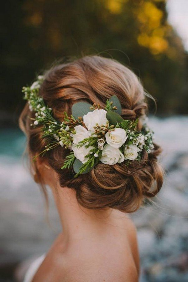 elegant updo wedding hairstyle ideas with greenery floral
