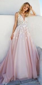 eva lendel ombre pink vintage wedding dress with embellished bodice