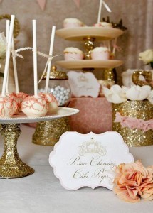 feminine pink and glittery gold bridal shower food ideas