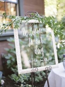 greenery elegant wedding sign ideas