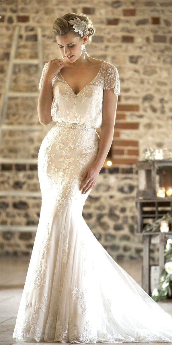 Lace Vintage Mermaid Wedding Dresses With Cap Sleeves