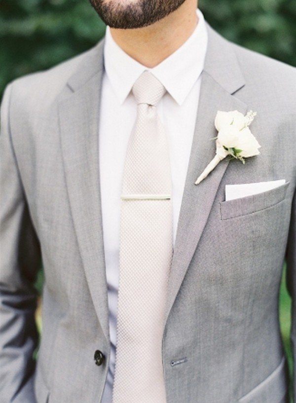 light gray and white elegant groom suit wedding ideas