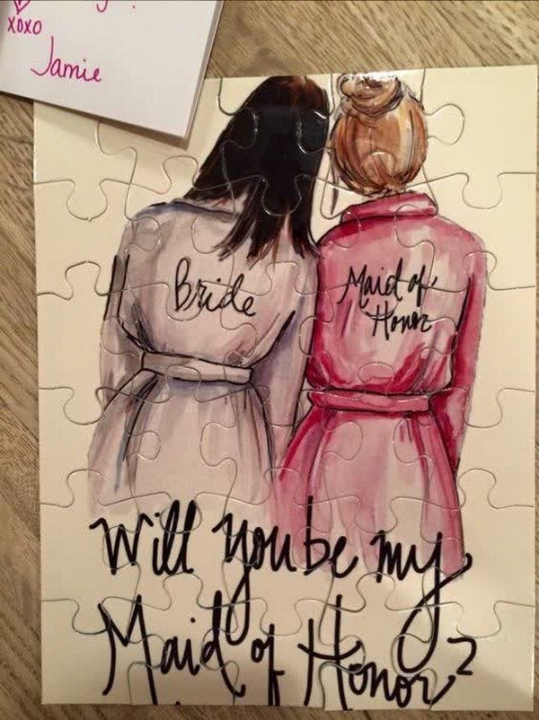 maid of honor proposal puzzle for bridesmaid proposal ideas