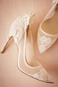 romantic white lace wedding shoes