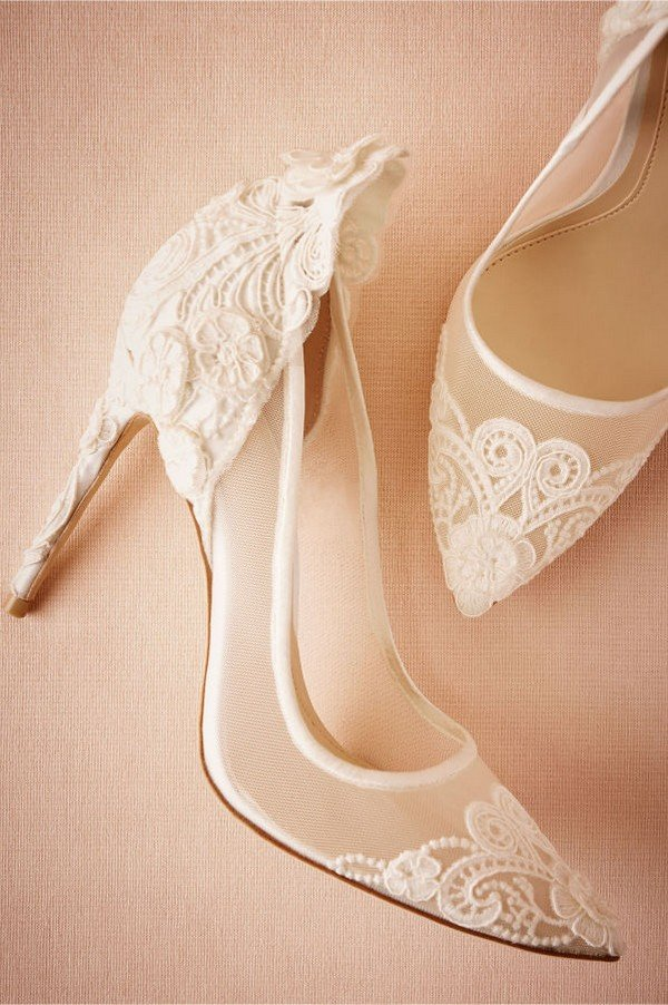 romantic white lace wedding shoes