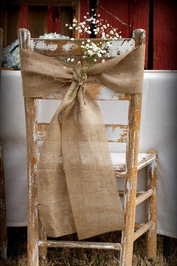 rustic burlap wedding chair decoration ideas