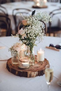 rustic diy wedding centerpiece ideas with mason jars and candles
