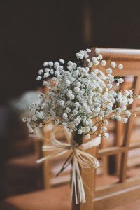 rustic wedding chair decoration ideas with baby's breath