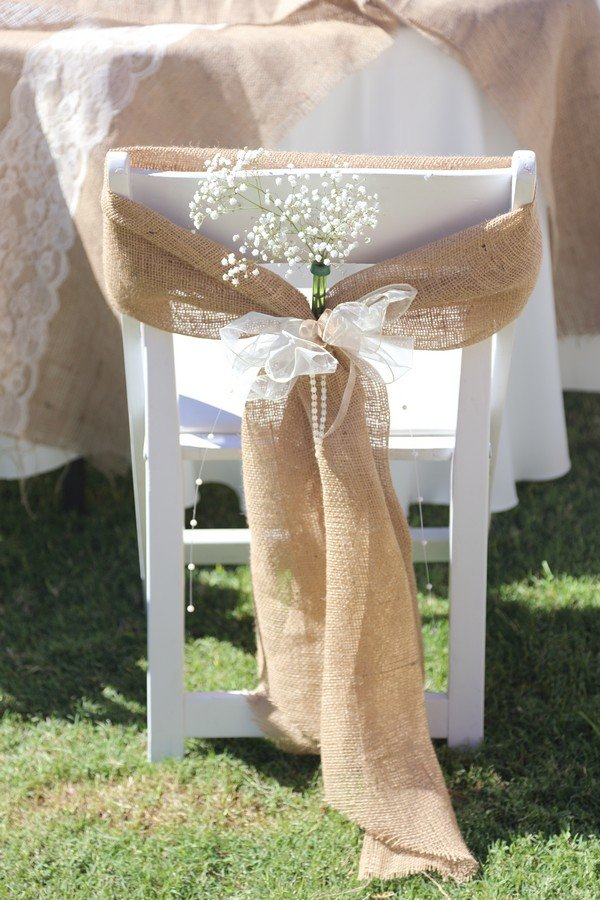 rustic wedding chair decoration ideas with burlap and baby's breath