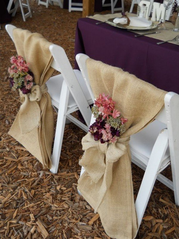 rustic wedding chair decoration ideas with burlap and flowers