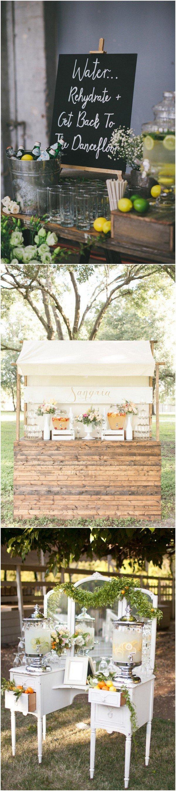 rustic wedding drink station ideas