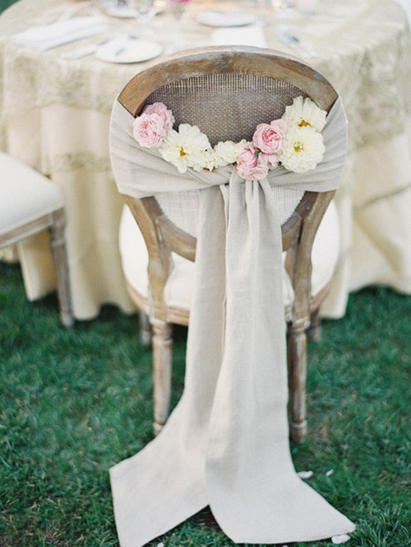 rustic wedding reception chair decoration ideas with burlap and flowers