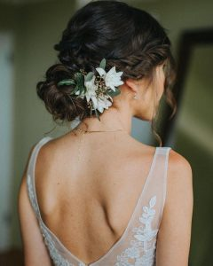 simple but elegant updo wedding hairstyles with floral