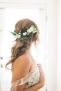 trending wedding hairstyles with white and green flower crown