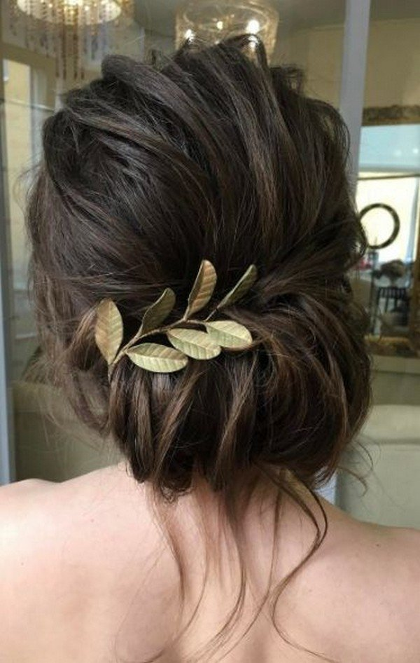 updo wedding hairstyles with leaves