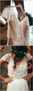 vintage blush beaded wedding dress with cap sleeves
