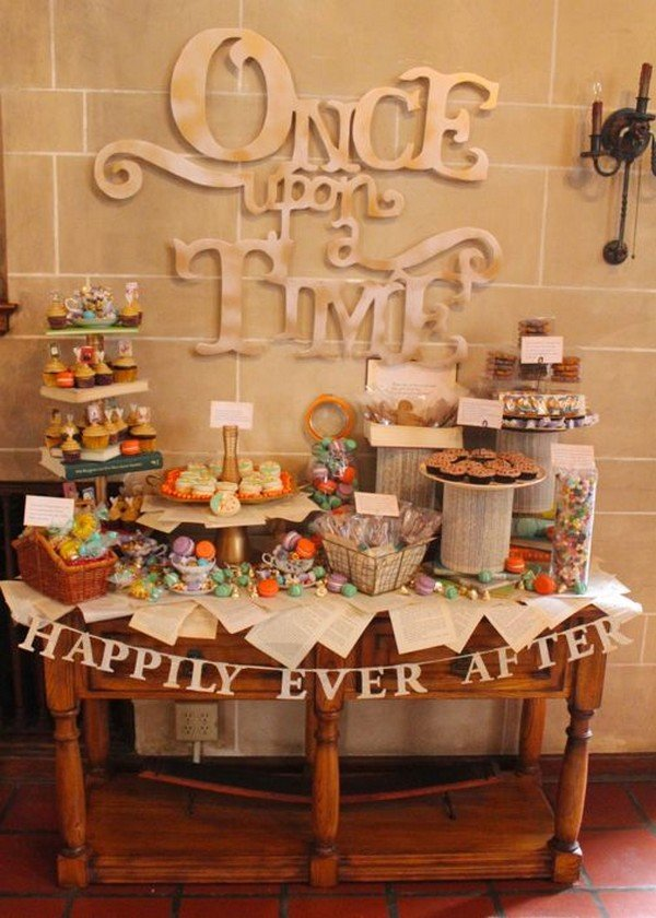 vintage book themed bridal shower dessert table ideas