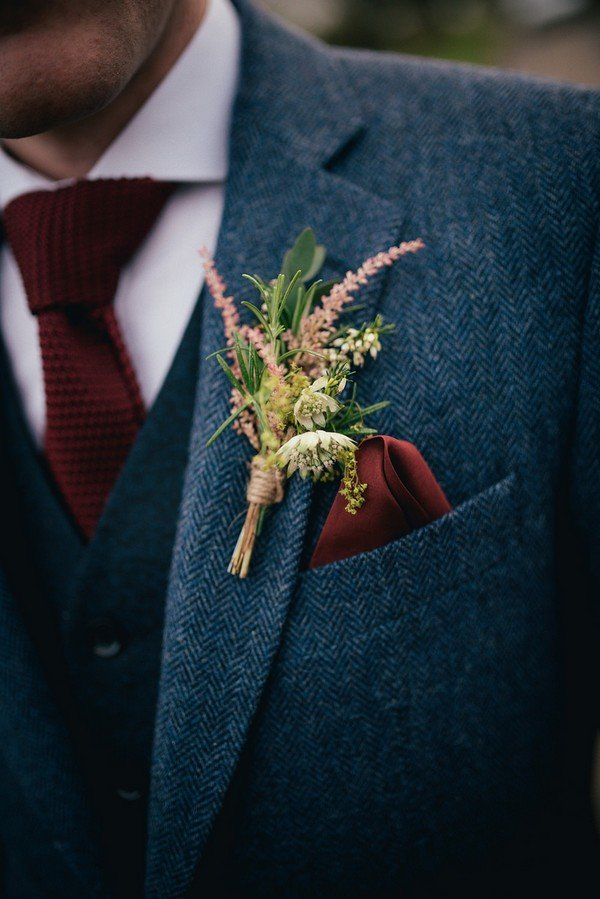 vintage burgundy and navy blue wedding groom suit ideas