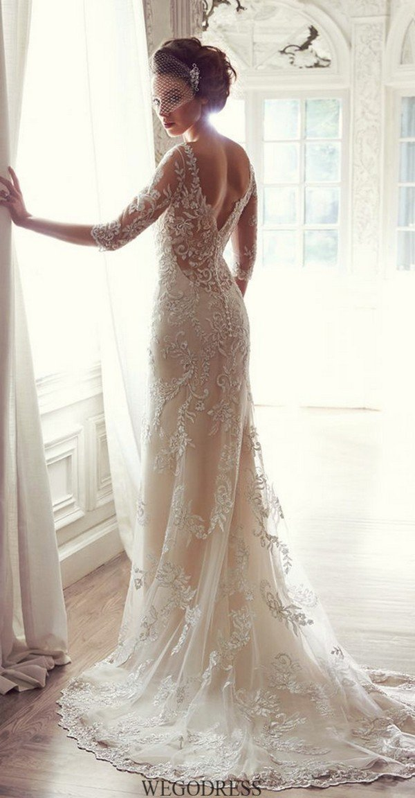 vintage lace wedding dress with v back